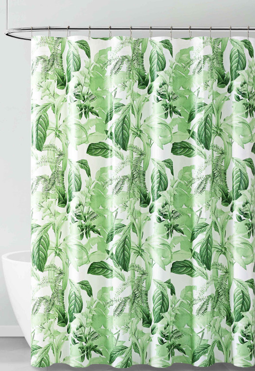 PEVA Shower Curtain Liner Odorless, PVC and Chlorine Free, Biodegradable, Mildew Free, Eco-Friendly Size 72L (Green and White Tropical Leaf Design)