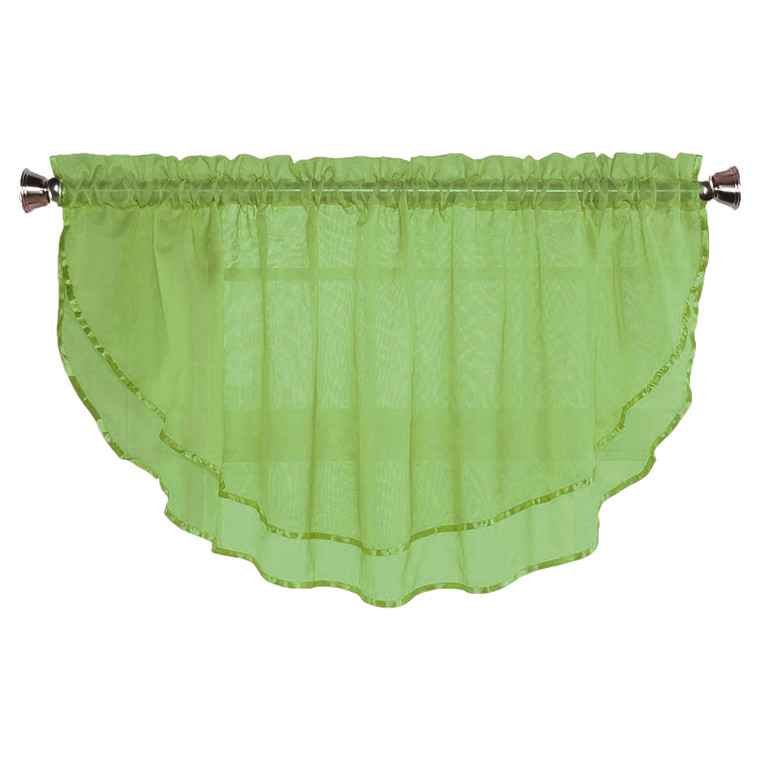 Sheer Voile Valance Curtain for Windows Size 54 in X 24 in Scalloped with Ribbon for Kitchens, Living Room, Dining Room, Bathroom, Bay Windows, Basement, Laundry Room (Lime)