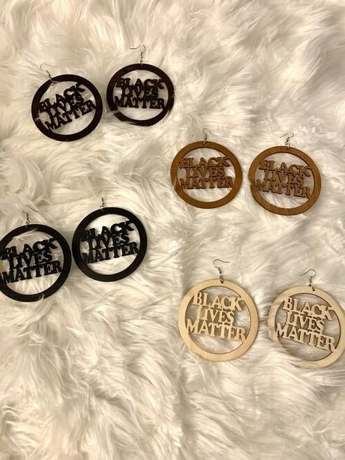Wood Black Lives Matter Earrings