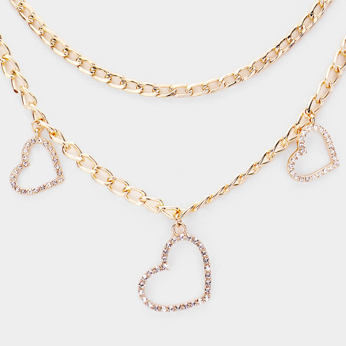 Open Heart Layered Necklace