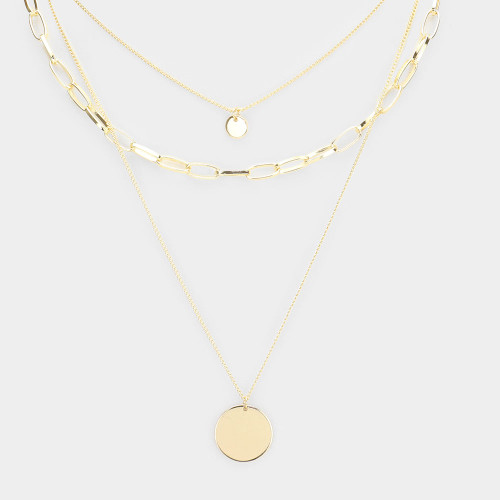 Pendant Triple Layered Necklace