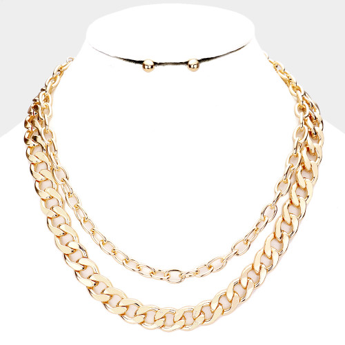 Double Chain Layered Necklace