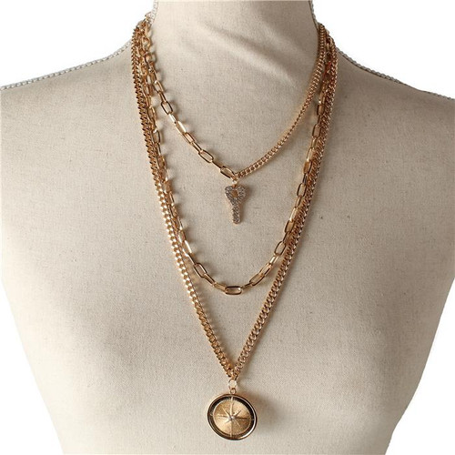 Multichain Key and Compass Layered Necklace