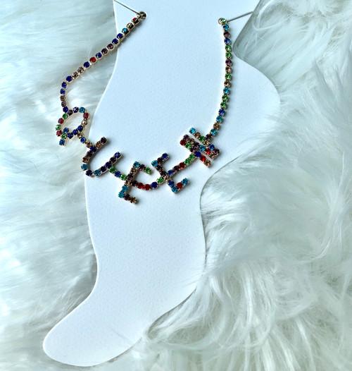 Queen Multicolor Rhinestone Anklet