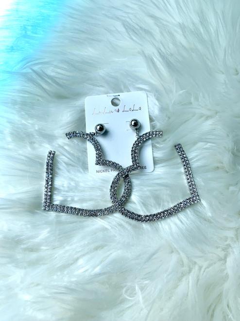 Silver Heart Rhinestone Earrings
