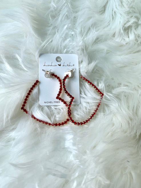 Red Rhinestone Heart Earrings