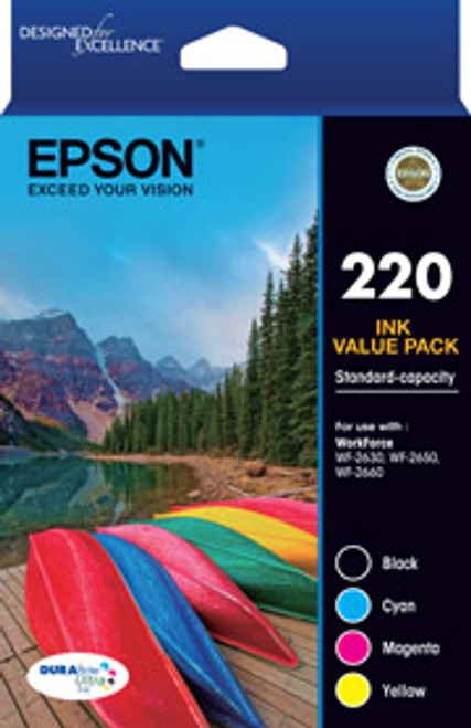 220 Four Colour Std Value Pack (Black, Cyan, Magenta and Yellow)-Epson WorkForce WF-2630, WF-2650 & WF-2660