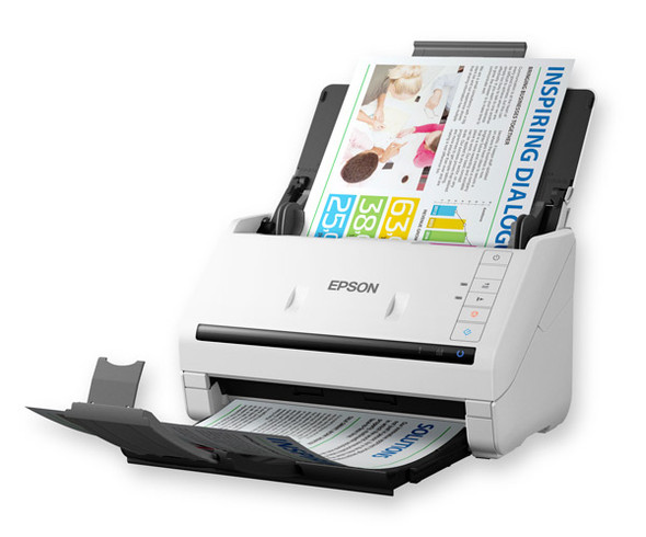 Epson Workforce DS-530, 35ppm/70ipm, Scan to Cloud/PDF, 50sht ADF, OCR, optional network + Flatbed Dock