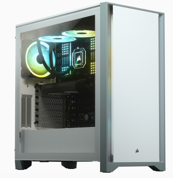Corsair 4000D Tempered Glass Mid-Tower Case, White