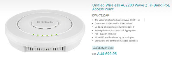 Dlink Unified Wireless AC2200 Wave 2 Tri-Band PoE Access Point for DWC-1000, DWC-2000