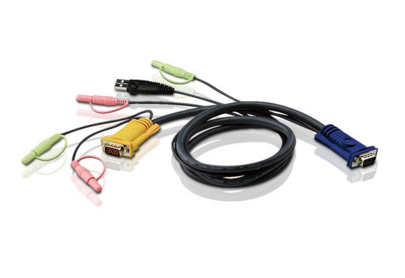 ATEN 1.8m 3in1 VGA + 3.5mm Stereo Audio + Mic, USB KVM Cable HDB-15M to SPHD-15M & Audio Plugs