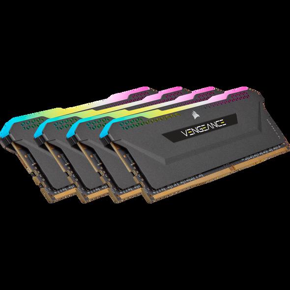 Corsair DDR4, 3200MHz 32GB 4x8GB DIMM, Unbuffered, 16-20-20-38, XMP 2.0, Vengeance RGB Pro SL Black Heatspreader, 1.35V, for AMD Ryzen/Threadripper/Intel
