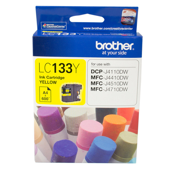 Brother YELLOW INK CARTRIDGE TO SUIT DCP-J4110DW/MFC-J4410DW/J4510DW/J4710DW - UP TO 600 PAGES LC-133Y   LC-133Y   Rosman Computers - 1