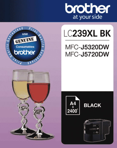 Brother BLACK INK CARTRIDGE TO SUIT MFC-J5320DW/J5720DW - UP TO 2400 PAGES LC-239XLBKS