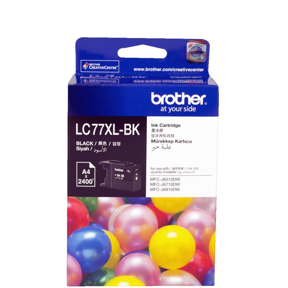 Brother BLACK SUPER HIGH YIELD INK CARTRIDGE  - UP TO 2400 PAGES LC-77XLBK
