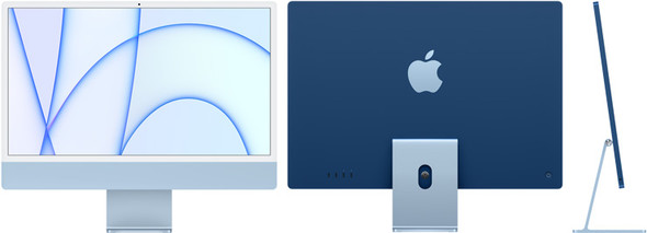 24-inch iMac with Retina 4.5K display: Apple M1 chip with 8-core CPU and 8-core GPU, 512GB - Blue | MGPL3X/A | Rosman Computers - 1