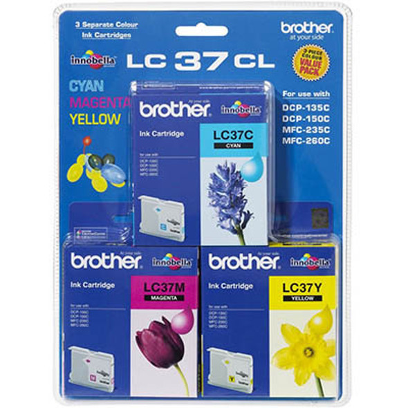 Brother BRTHR LC37C,M,Y COLOR PACK FOR DCP135C/150C MF260C MFC235C (LC-37CL-3PK)