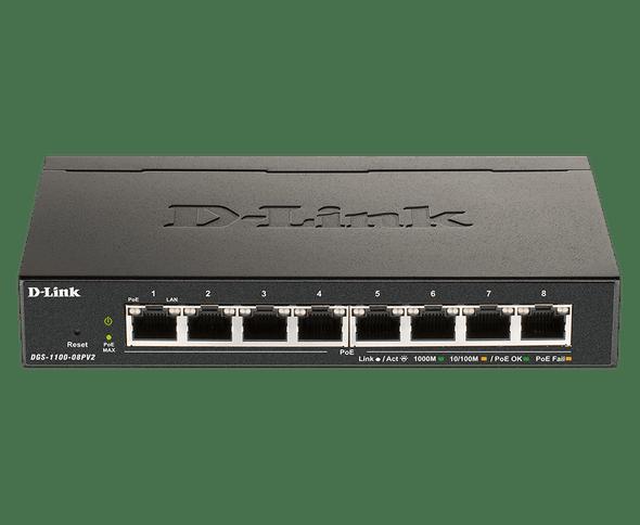 Dlink 8-Port Gigabit Smart Managed Switch with 8 PoE+ ports. PoE budget 64W. (DGS-1100-08PV2) | DGS-1100-08PV2 | Rosman Computers - 1