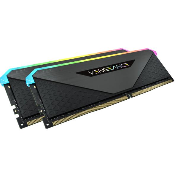 Corsair DDR4, 3200MHz 32GB 2x16GB Dimm, Unbuffered, 16-20-20-38, XMP 2.0, Vengeance RGB RT Heatspreader, RGB LED, Black PCB, 1.35V, for AMD Ryzen (CMN32GX4M2Z3200C16) | CMN32GX4M2Z3200C16 | Rosman Computers - 1