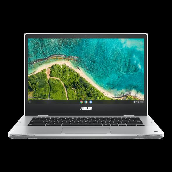 ASUS Flip Touch Chromebook, 14''FHD Touch Screen,AMD 3015CE, 8GB, 64GB, ZTE, World Facing Camera,1x USB-A,2x USB-C, Micro SD reader, Silver, 1YR WTY (CM1400FXA-EC0046) | 90NX04B2-M000N0 | Rosman Computers - 2