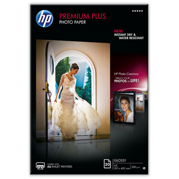HP Premium Plus Photo Paper Gloss 20 sheet A3 (CR675A)   CR675A   Rosman Computers - 1