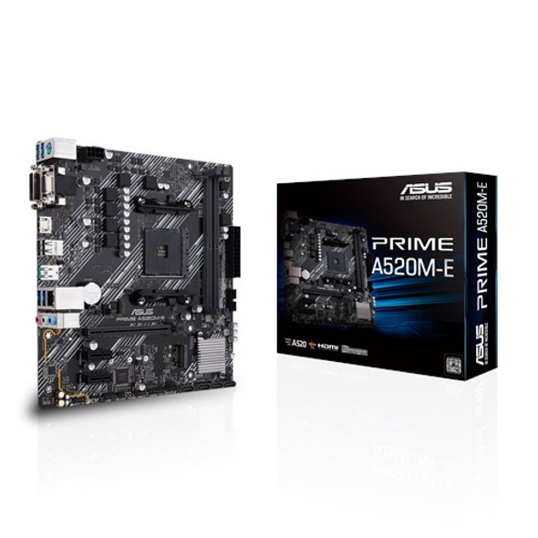 Asus AMD A520 (Ryzen AM4) micro ATX motherboard with M.2 support, 1 Gb Ethernet, HDMI/DVI/D-Sub, SATA 6 Gbps, USB 3.2 Gen 2 Type-A (PRIME-A520M-E)   90MB1510-M0UAY0   Rosman Computers - 1