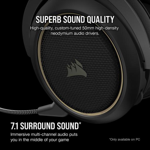 CORSAIR HS70 PRO WIRELESS Gaming Headset, Cream (CA-9011210-AP(HS70-PRO-C)) | CA-9011210-AP | Rosman Computers - 2