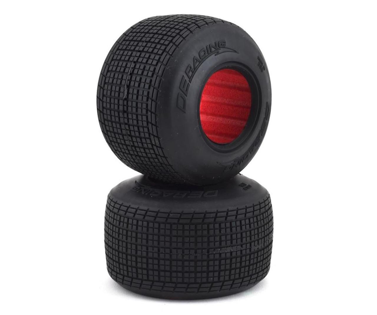 DE Racing DER-OSR2-C1 Outlaw Sprint HB Dirt Oval Rear Tires w/Red Insert (2) (Clay)