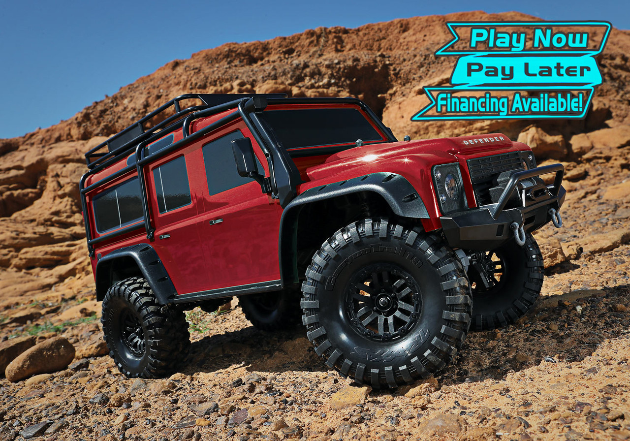 Traxxas TRX-4 1/10 Scale Trail Rock Crawler w/Land Rover Defender Body  w/XL-5 ESC & TQi 2 4GHz Radio (Red)