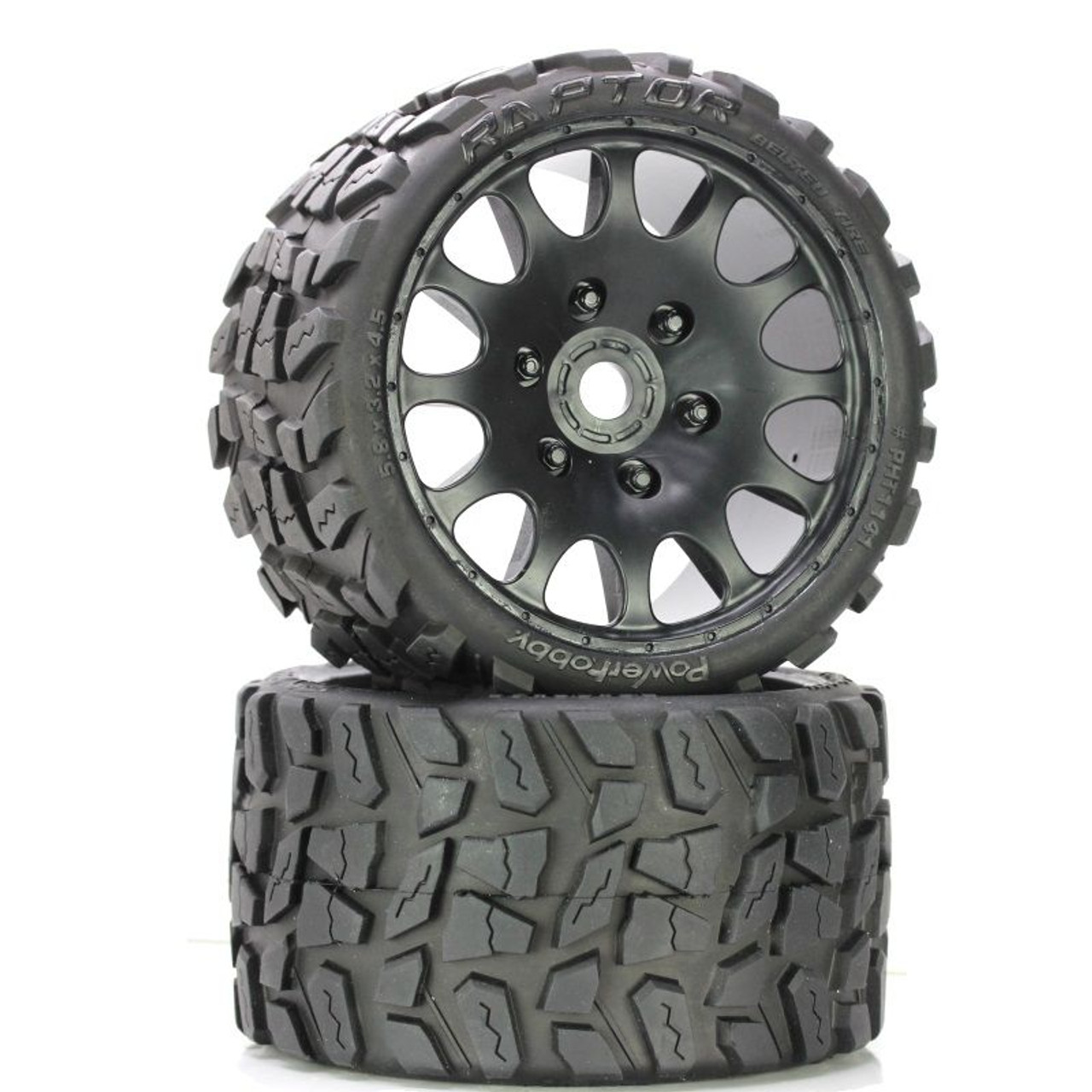 Power Hobby 1141s Raptor Belted Monster Truck Wheels Tires Pr Pre Mounted Sport Medium Compound 17mm Hex Phbpht1141s