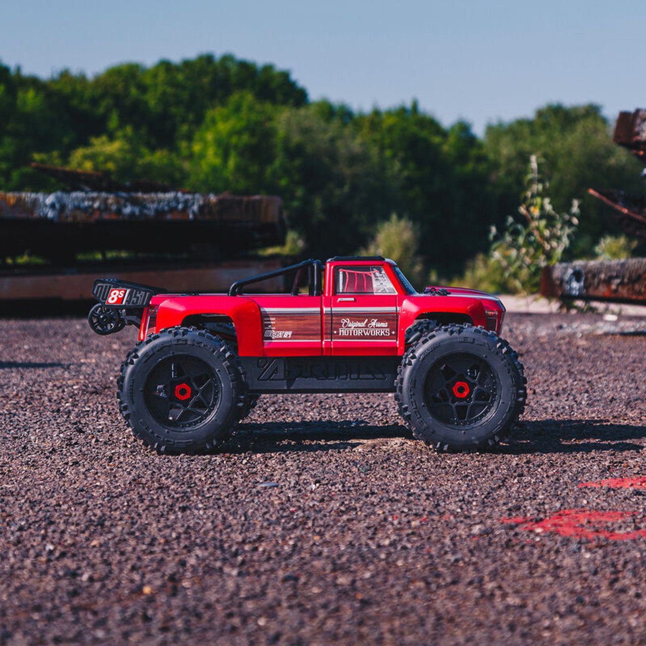 Arrma Outcast 8S BLX Brushless RTR 1/5 4WD Stunt Truck (Red) w/ DX3 Radio, Smart ESC and AVC