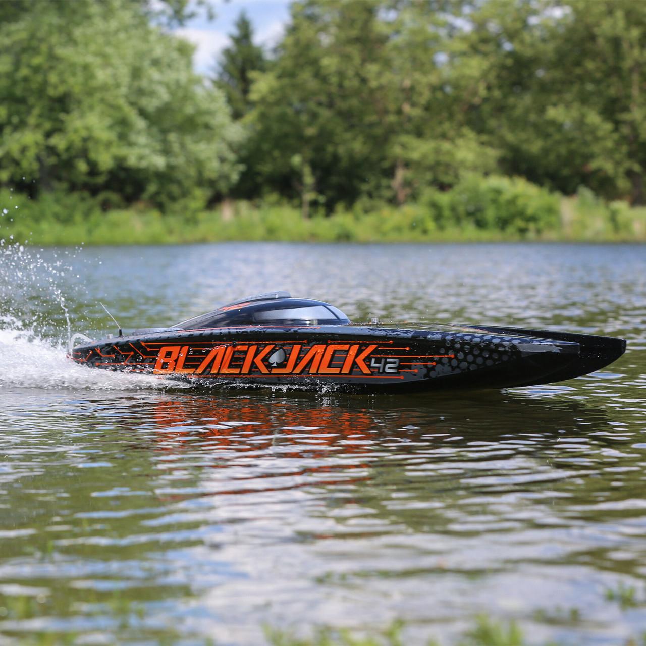 "Pro Boat Blackjack 42"" 8S Brushless RTR Electric Catamaran (Black/Orange) w/2.4GHz Radio System"