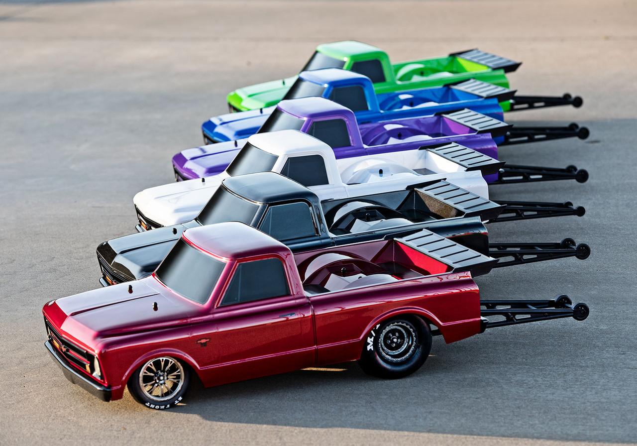 Traxxas Drag Slash 1/10 2WD RTR No Prep Truck w/1967 Chevrolet C10 Body w/TQi 2.4GHz Radio & TSM, Midnight Black
