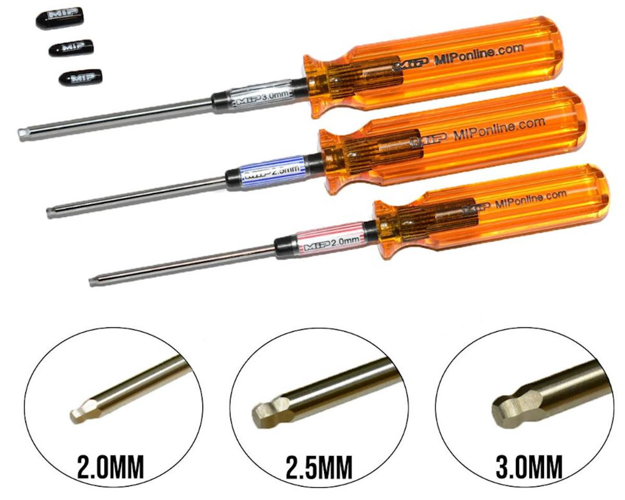 MIP Hex Driver Ball Wrench Set, Metric, 2.0/2.5/3.0mm, 3pcs