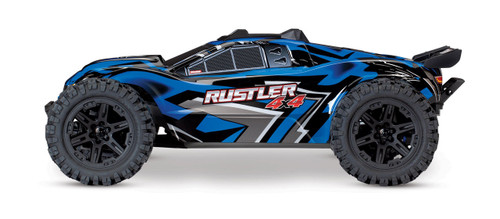 Traxxas Rustler 4X4 Brushed RTR 1/10 4WD Stadium Truck w/TQ 2.4GHz Radio & iD Battery & DC Charger (Blue)