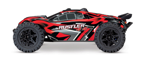 Traxxas Rustler 4X4 Brushed RTR 1/10 4WD Stadium Truck w/TQ 2.4GHz Radio & iD Battery & Charger (Red)