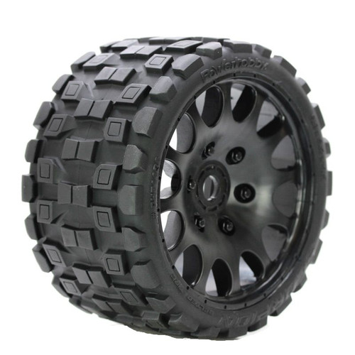 Power Hobby 1131S Scorpion Belted Monster Truck Wheels/Tires (pr.), Pre-mounted, Sport Medium Compound 17mm Hex
