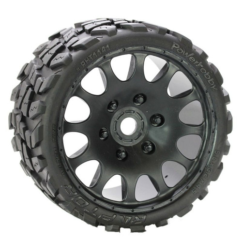 Power Hobby 1141S Raptor Belted Monster Truck Wheels/Tires (pr.), Pre-mounted, Sport Medium Compound 17mm Hex