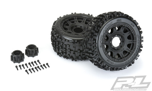 "Proline Badlands 3.8"" All Terrain MT Tires, Raid Black Mounted 8x32 17mm Hex (2)"