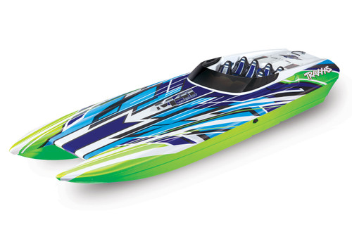 "Traxxas DCB M41 Widebody 40"" Catamaran High Performance 6S Race Boat w/ TQi 2.4GHz Radio & TSM (Green/Blue)"