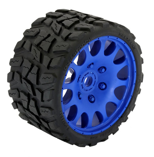 Powerhobby Raptor Belted Monster Truck Tires / Wheels w/ 17mm Hex (2) Sport-Blue