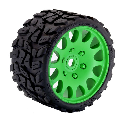 Powerhobby Raptor Belted Monster Truck Tires / Wheels w/ 17mm Hex (2) Sport-Green