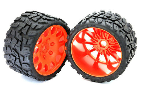 Powerhobby Raptor Belted Monster Truck Tires / Wheels w/ 17mm Hex (2) Sport-Orange