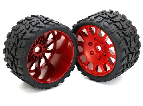 Powerhobby Raptor Belted Monster Truck Tires / Wheels w/ 17mm Hex (2) Sport-Red