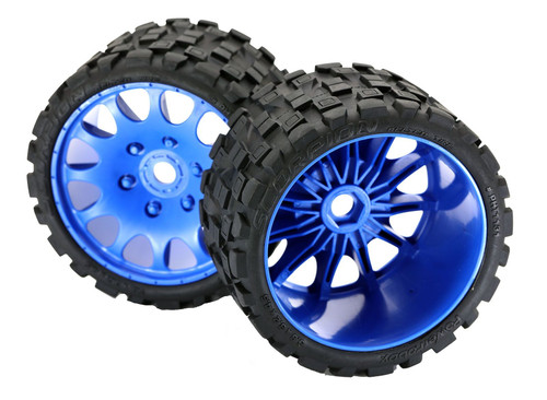 Powerhobby Scorpion Belted Monster Truck Tires / Wheels w/ 17mm Hex (2) Sport-Blue