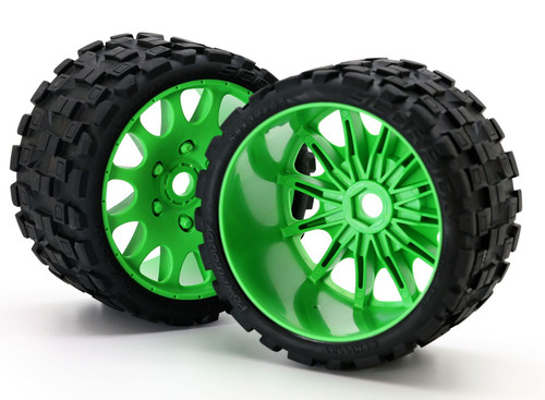Powerhobby Scorpion Belted Monster Truck Tires / Wheels w/ 17mm Hex (2) Sport-Green