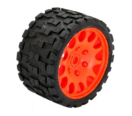 Powerhobby Scorpion Belted Monster Truck Tires / Wheels w/ 17mm Hex (2) Sport-Orange