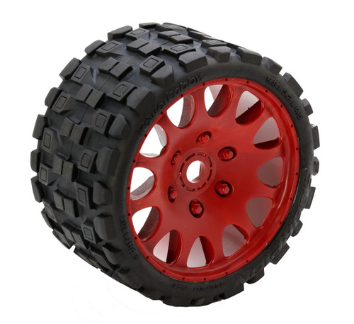 Powerhobby Scorpion Belted Monster Truck Tires / Wheels w/ 17mm Hex (2) Sport-Red