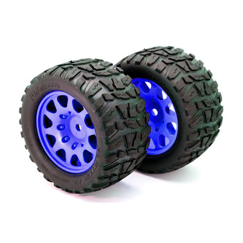 Powerhobby Raptor XL Belted Tires / Viper Wheels (2) Traxxas X-Maxx 8S-Blue