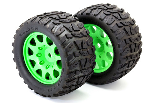 Powerhobby Raptor XL Belted Tires / Viper Wheels (2) Traxxas X-Maxx 8S-Green